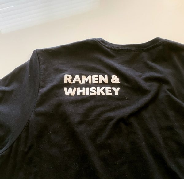 Hapa PDX White-on-Black T-Shirt, back shoulder detail